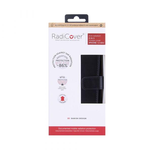 Exclusive 2-i-1 - iPhone 13 MINI - full grain lær - 86% beskyttelse - svart