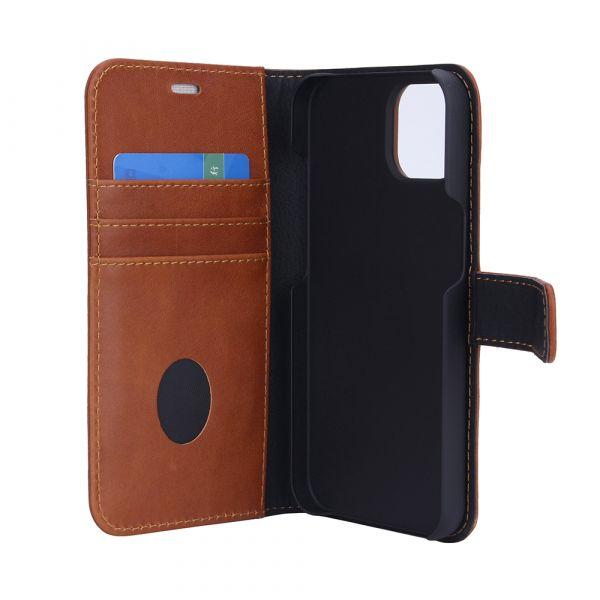 Exclusive 2-i-1 - iPhone 13 - ekte lær - 86% beskyttelse - brun