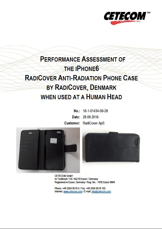 RadiCover SAR test - af Cetecom GmbH/Inc. RadiCover anti-strålings cover